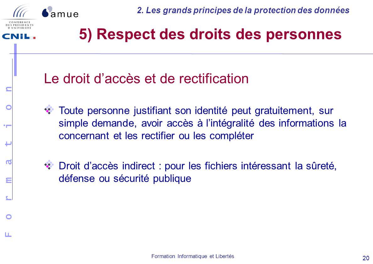 F o r m a t i o n Formation Informatique et Libertés 20 Le droit daccès et de rectification Toute personne justifiant son identité peut gratuitement,