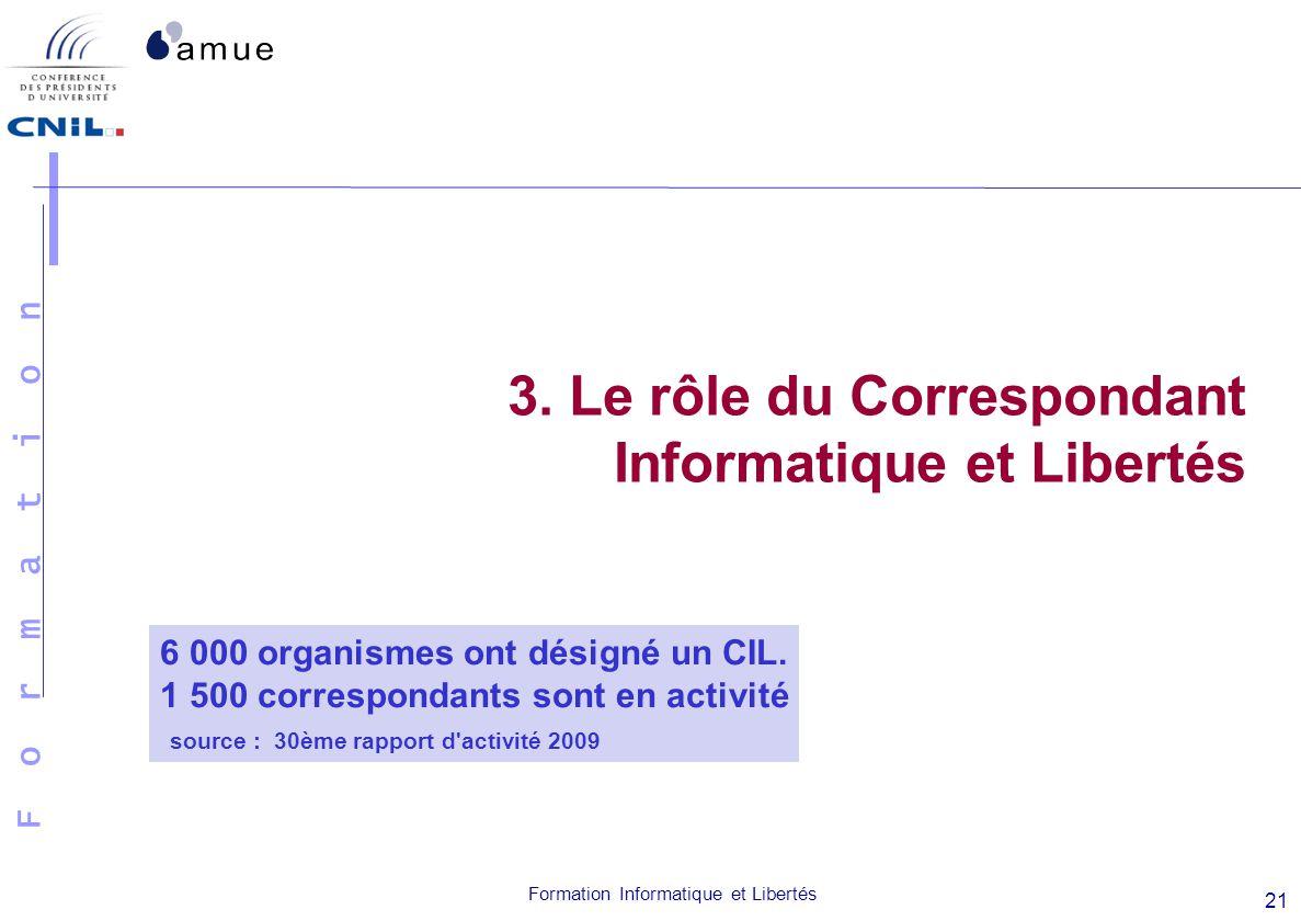 F o r m a t i o n Formation Informatique et Libertés 21 3. Le rôle du Correspondant Informatique et Libertés 6 000 organismes ont désigné un CIL. 1 50