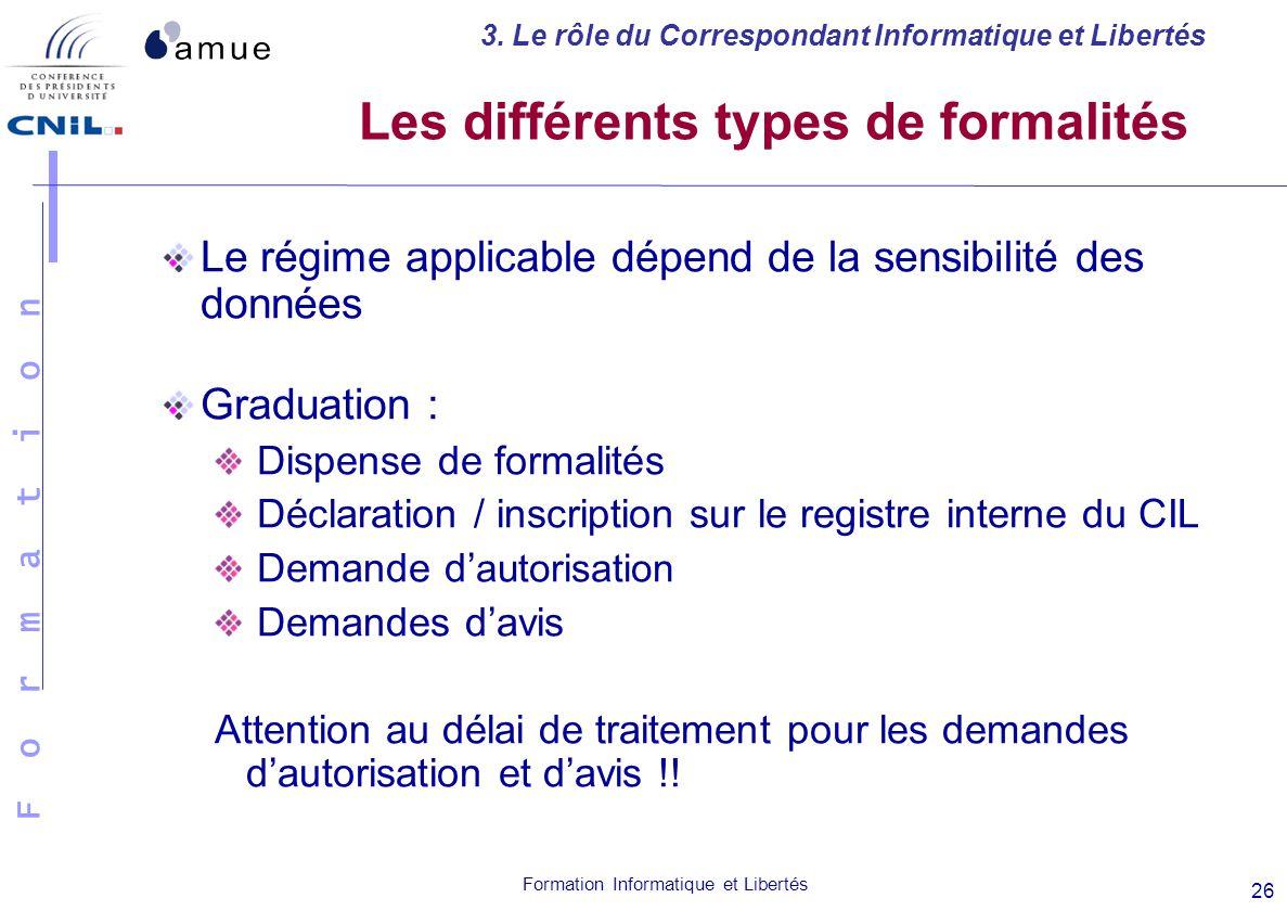 F o r m a t i o n Formation Informatique et Libertés 26 Les différents types de formalités Le régime applicable dépend de la sensibilité des données G