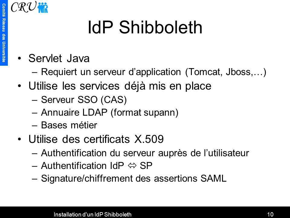 Comité Réseau des Universités Installation d'un IdP Shibboleth10 IdP Shibboleth Servlet Java –Requiert un serveur dapplication (Tomcat, Jboss,…) Utili