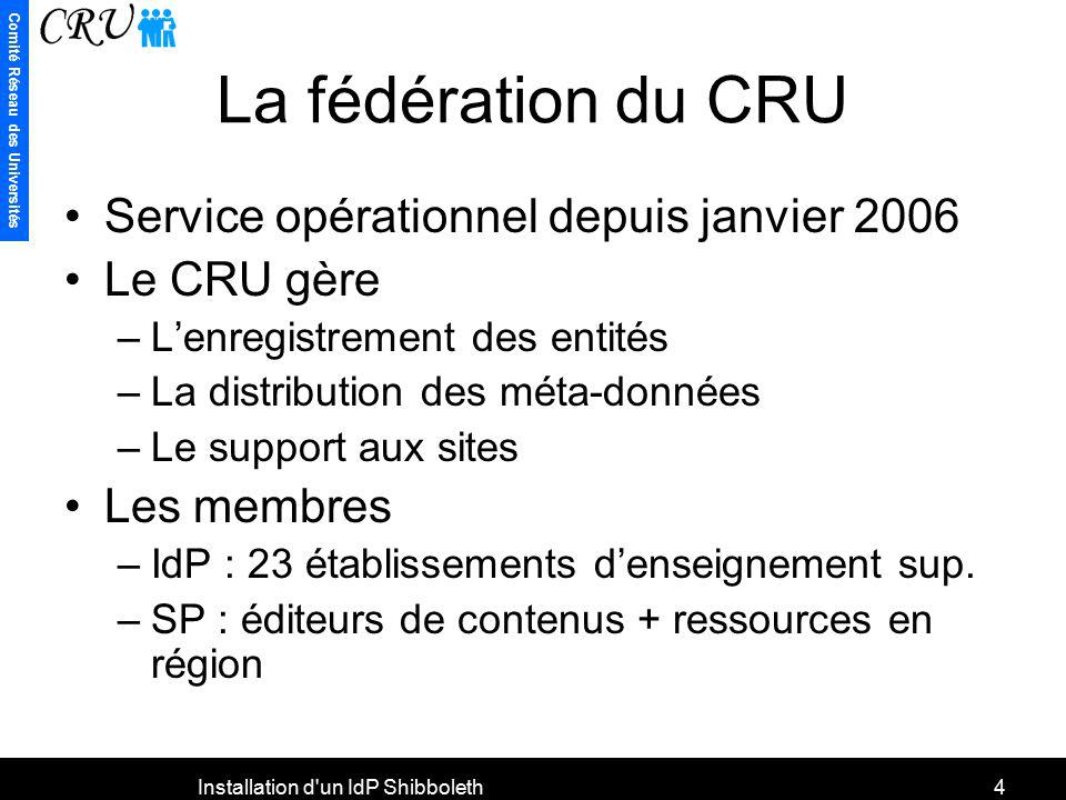 Comité Réseau des Universités Installation d'un IdP Shibboleth4 La fédération du CRU Service opérationnel depuis janvier 2006 Le CRU gère –Lenregistre