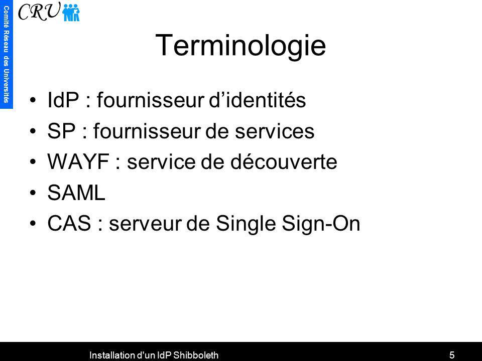 Comité Réseau des Universités Installation d'un IdP Shibboleth5 Terminologie IdP : fournisseur didentités SP : fournisseur de services WAYF : service