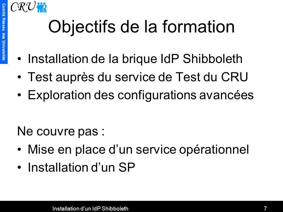 Comité Réseau des Universités Installation d'un IdP Shibboleth7 Objectifs de la formation Installation de la brique IdP Shibboleth Test auprès du serv