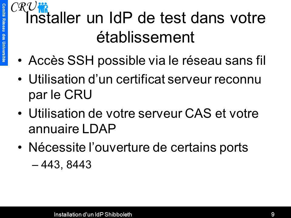 Comité Réseau des Universités Installation d'un IdP Shibboleth9 Installer un IdP de test dans votre établissement Accès SSH possible via le réseau san