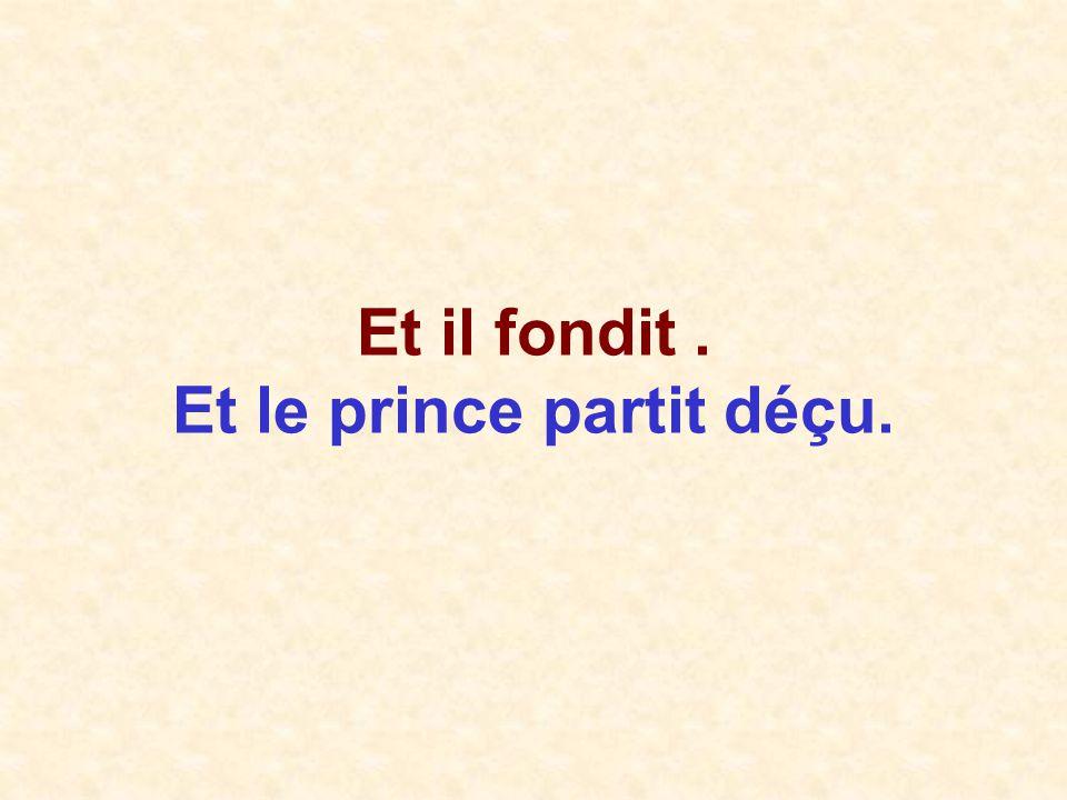 Et il fondit. Et le prince partit déçu.