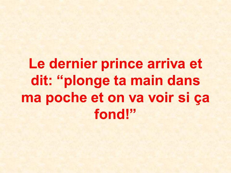 Le dernier prince arriva et dit: plonge ta main dans ma poche et on va voir si ça fond!