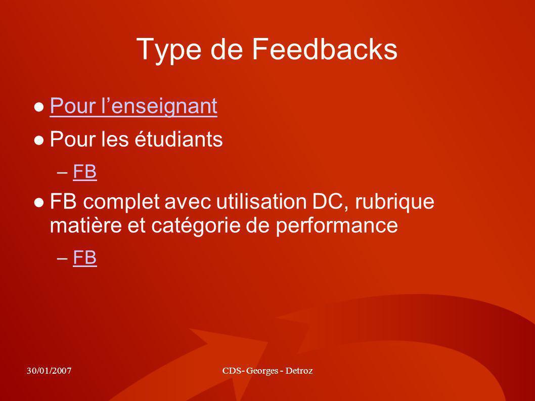 30/01/2007CDS- Georges - Detroz Type de Feedbacks Pour lenseignant Pour les étudiants –FBFB FB complet avec utilisation DC, rubrique matière et catégorie de performance –FBFB