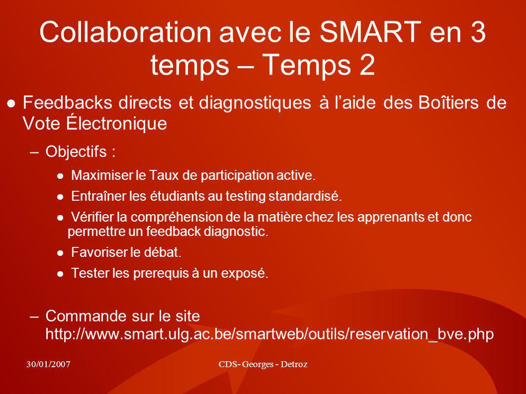 30/01/2007CDS- Georges - Detroz Collaboration avec le SMART en 3 temps – Temps 2 Feedbacks directs et diagnostiques à laide des Boîtiers de Vote Électronique –Objectifs : Maximiser le Taux de participation active.