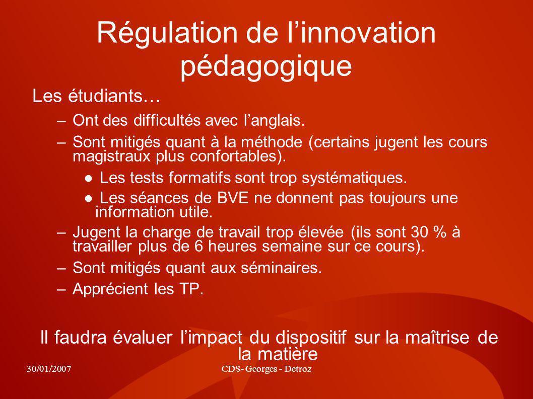 30/01/2007CDS- Georges - Detroz Régulation de linnovation pédagogique Les étudiants… –Ont des difficultés avec langlais.