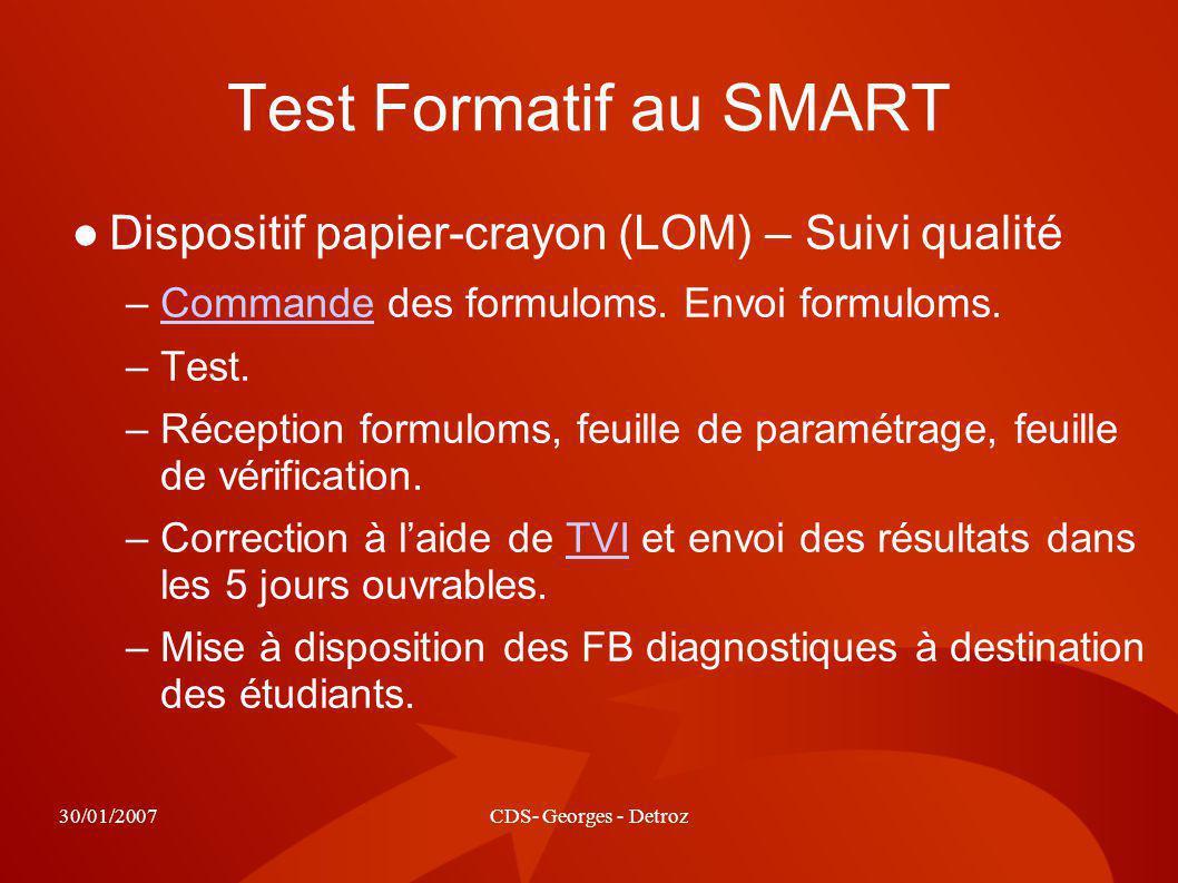 30/01/2007CDS- Georges - Detroz Test Formatif au SMART Dispositif papier-crayon (LOM) – Suivi qualité –Commande des formuloms. Envoi formuloms.Command