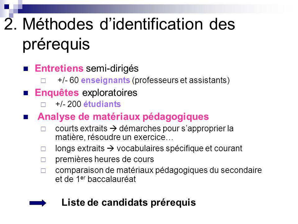 2. Méthodes didentification des prérequis Entretiens semi-dirigés +/- 60 enseignants (professeurs et assistants) Enquêtes exploratoires +/- 200 étudia
