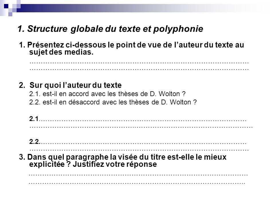 1. Structure globale du texte et polyphonie 1. Présentez ci-dessous le point de vue de lauteur du texte au sujet des medias.……………………………………………………………………