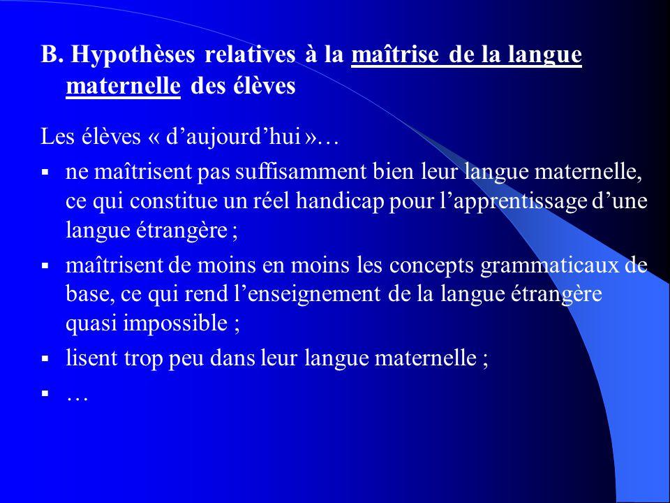 B. Hypothèses relatives à la maîtrise de la langue maternelle des élèves Les élèves « daujourdhui »… ne maîtrisent pas suffisamment bien leur langue m