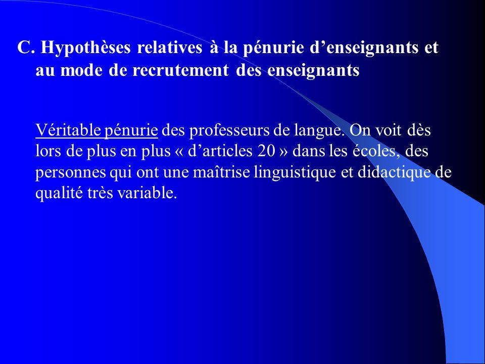 C. Hypothèses relatives à la pénurie denseignants et au mode de recrutement des enseignants Véritable pénurie des professeurs de langue. On voit dès l
