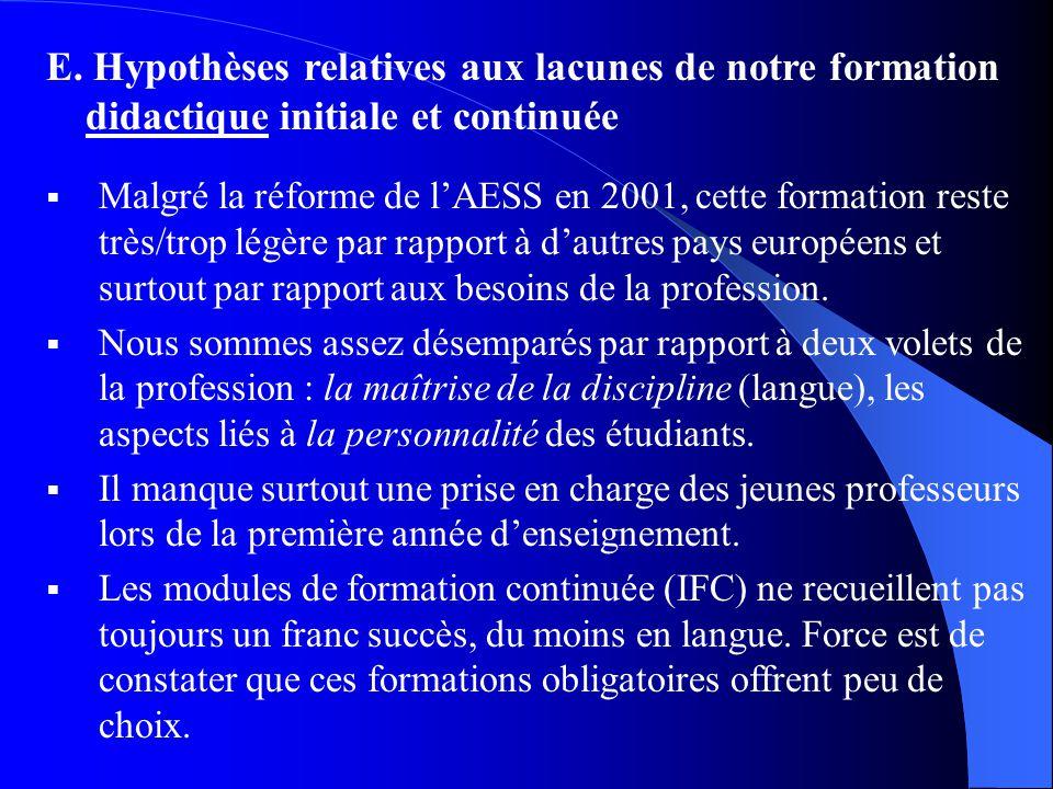 E. Hypothèses relatives aux lacunes de notre formation didactique initiale et continuée Malgré la réforme de lAESS en 2001, cette formation reste très