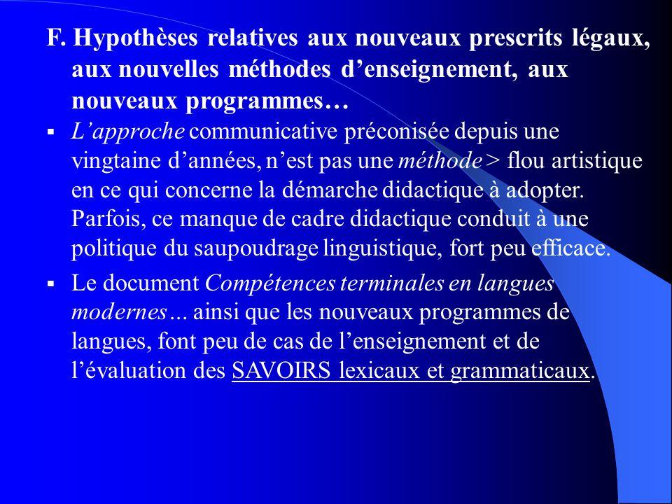 F. Hypothèses relatives aux nouveaux prescrits légaux, aux nouvelles méthodes denseignement, aux nouveaux programmes… Lapproche communicative préconis