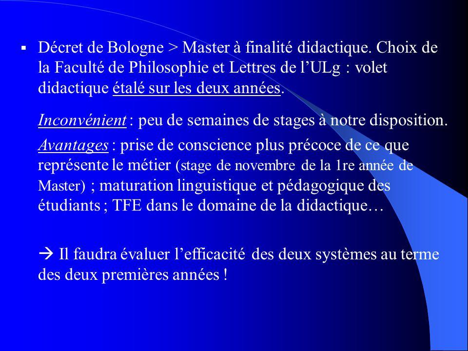 Décret de Bologne > Master à finalité didactique.