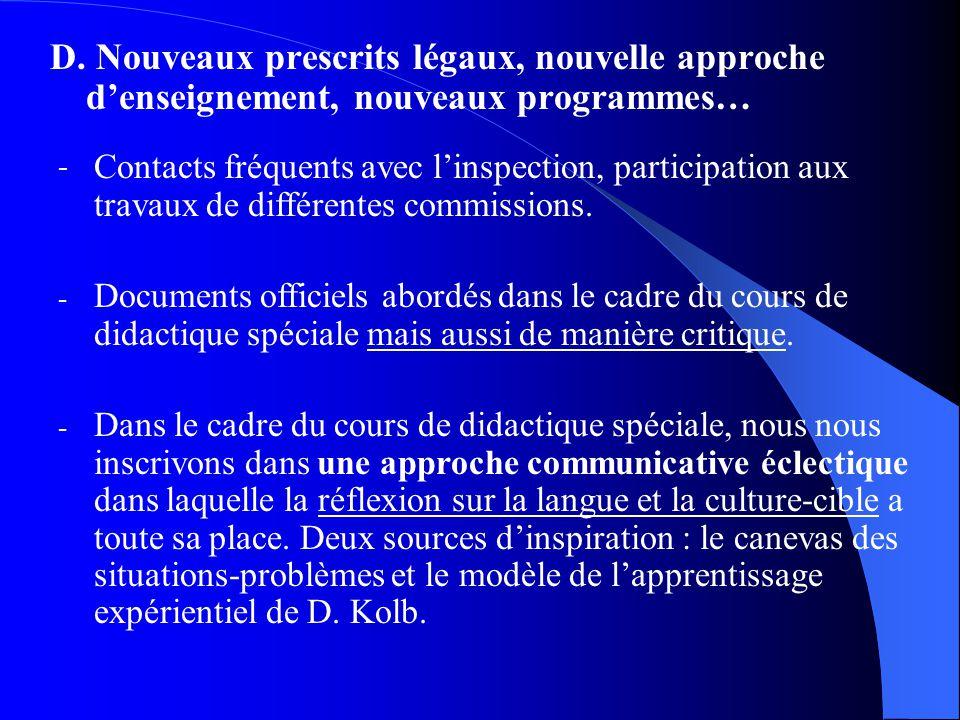 D. Nouveaux prescrits légaux, nouvelle approche denseignement, nouveaux programmes… - Contacts fréquents avec linspection, participation aux travaux d