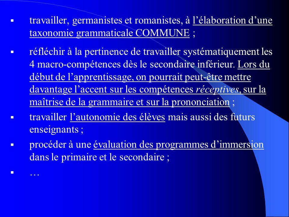travailler, germanistes et romanistes, à lélaboration dune taxonomie grammaticale COMMUNE ; réfléchir à la pertinence de travailler systématiquement les 4 macro-compétences dès le secondaire inférieur.