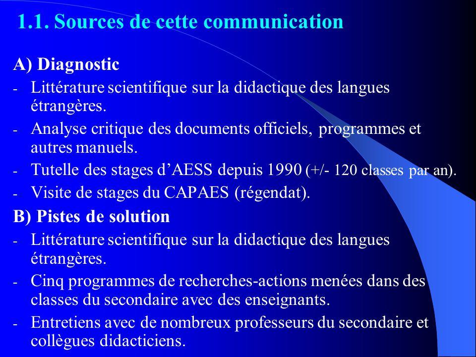 A) Diagnostic - Littérature scientifique sur la didactique des langues étrangères.