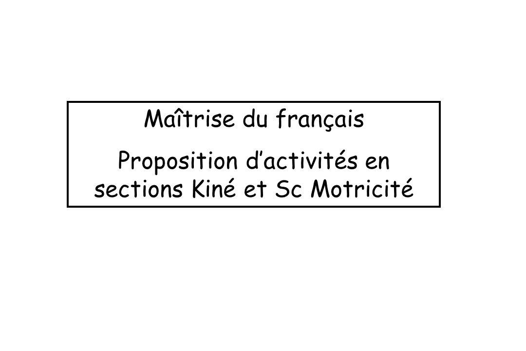 Maîtrise du français Proposition dactivités en sections Kiné et Sc Motricité