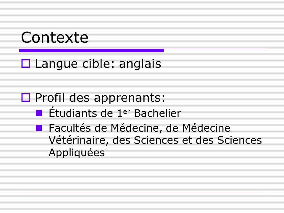 Contexte Langue cible: anglais Profil des apprenants: Étudiants de 1 er Bachelier Facultés de Médecine, de Médecine Vétérinaire, des Sciences et des S