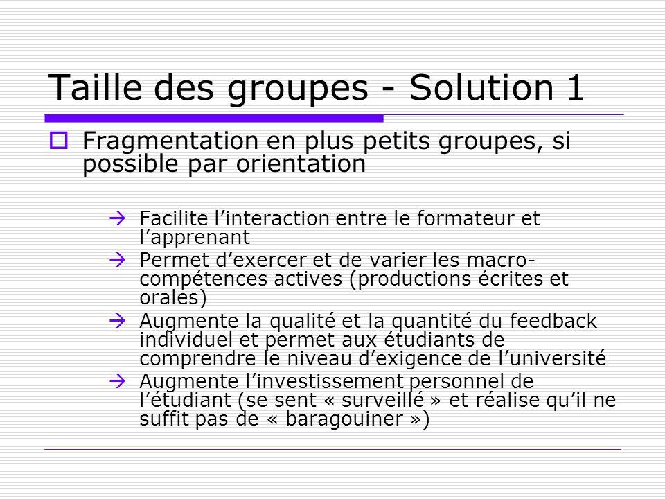 Taille des groupes - Solution 1 Fragmentation en plus petits groupes, si possible par orientation Facilite linteraction entre le formateur et lapprena