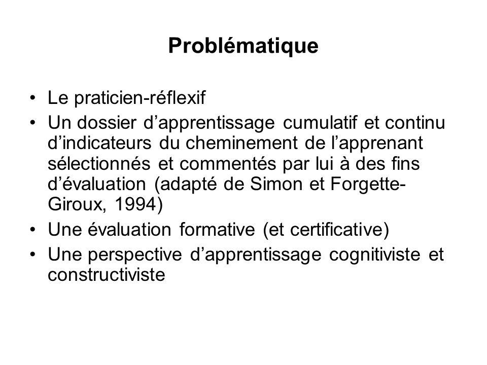 Problématique Le praticien-réflexif Un dossier dapprentissage cumulatif et continu dindicateurs du cheminement de lapprenant sélectionnés et commentés