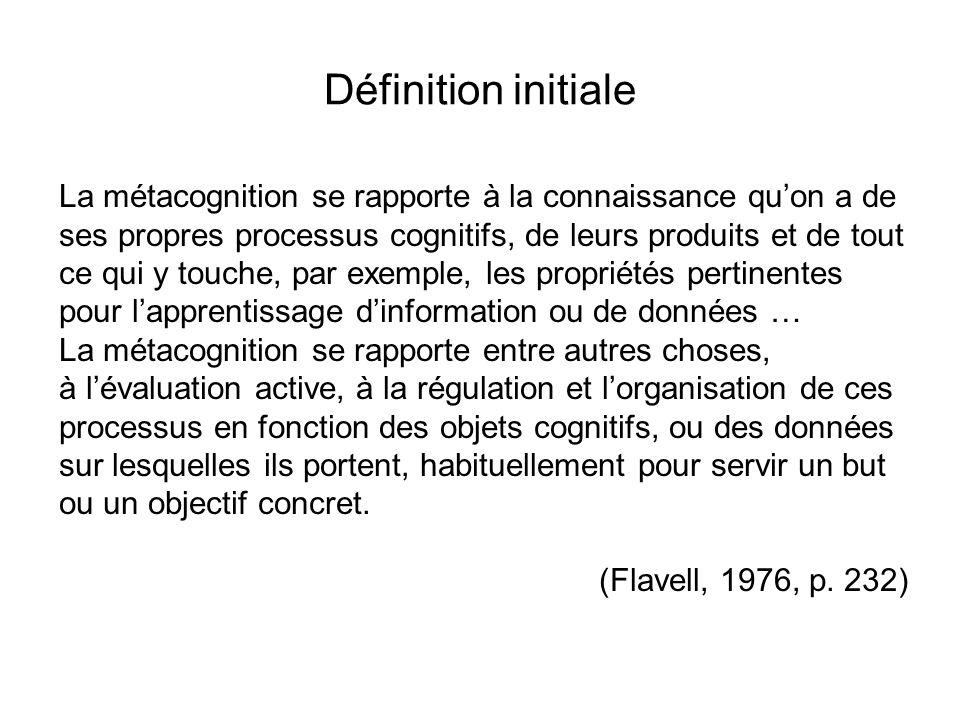 Deux notions au moins incluses dans la définition de la métacognition: la connaissance de sa connaissance, de ses processus cognitifs et de ses états affectifs; la capacité de les contrôler, les réguler consciemment et délibérément.