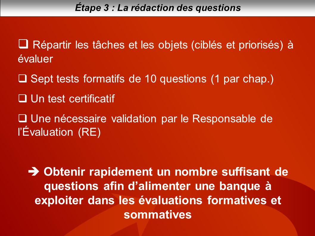 Étape 3 : La rédaction des questions Répartir les tâches et les objets (ciblés et priorisés) à évaluer Sept tests formatifs de 10 questions (1 par cha