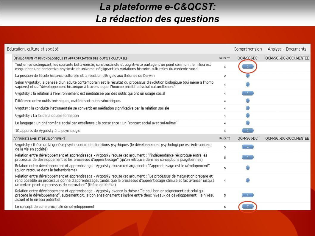 La plateforme e-C&QCST: La rédaction des questions