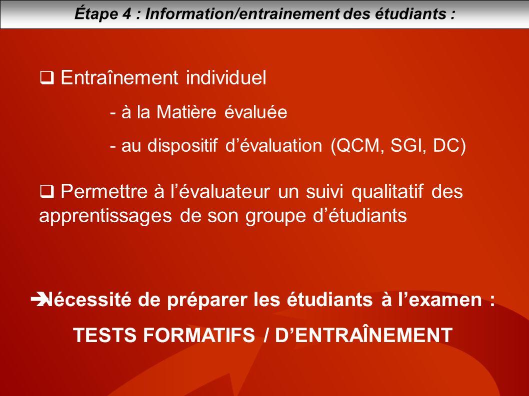 Étape 4 : Information/entrainement des étudiants : Entraînement individuel - à la Matière évaluée - au dispositif dévaluation (QCM, SGI, DC) Permettre