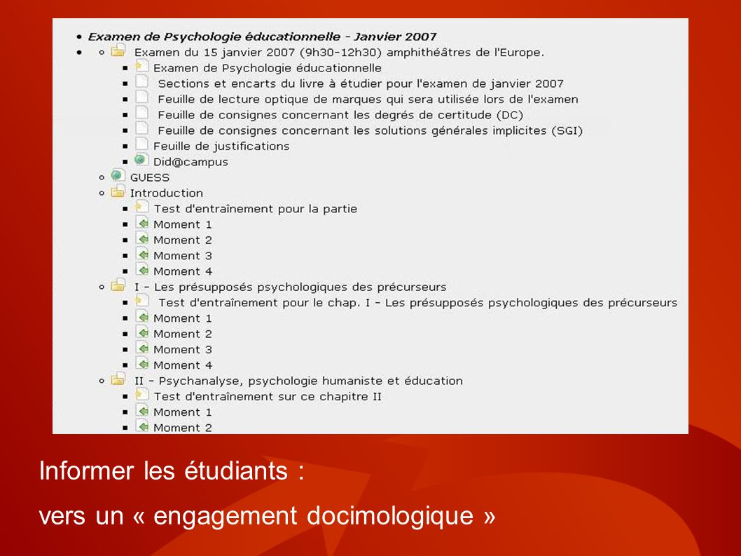 Informer les étudiants : vers un « engagement docimologique »