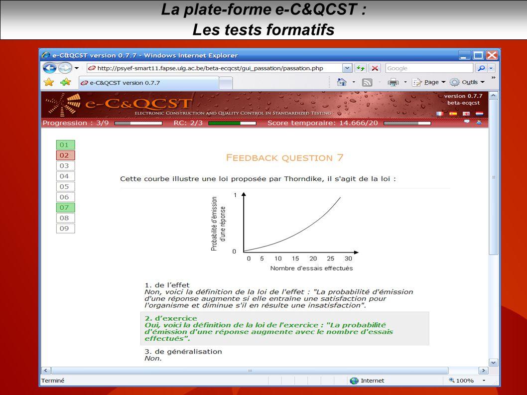 La plate-forme e-C&QCST : Les tests formatifs