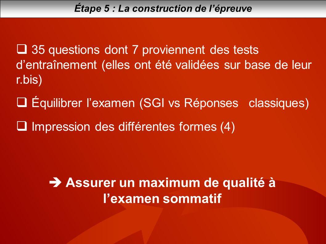 Assurer un maximum de qualité à lexamen sommatif Étape 5 : La construction de lépreuve 35 questions dont 7 proviennent des tests dentraînement (elles
