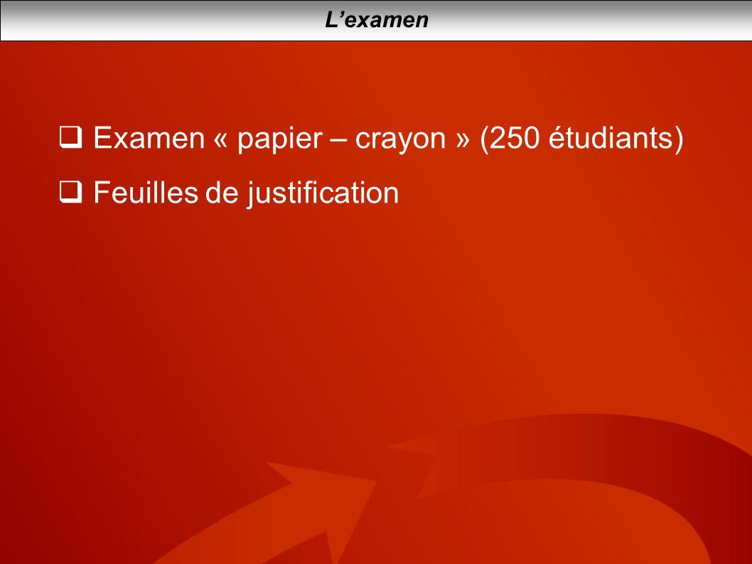 Lexamen Examen « papier – crayon » (250 étudiants) Feuilles de justification