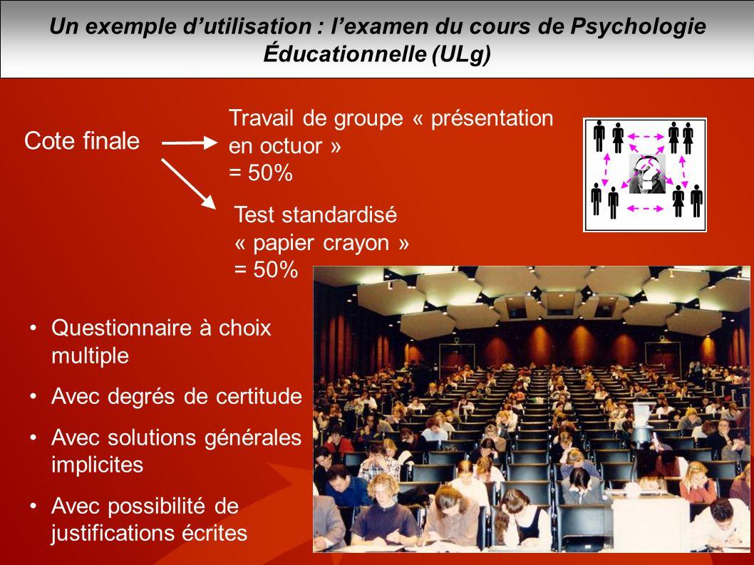 Cote finale Travail de groupe « présentation en octuor » = 50% Test standardisé « papier crayon » = 50% Questionnaire à choix multiple Avec degrés de