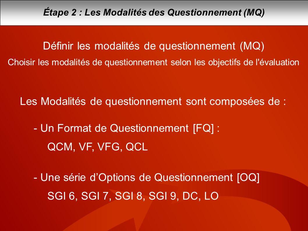 Étape 2 : Les Modalités des Questionnement (MQ) Définir les modalités de questionnement (MQ) Choisir les modalités de questionnement selon les objecti