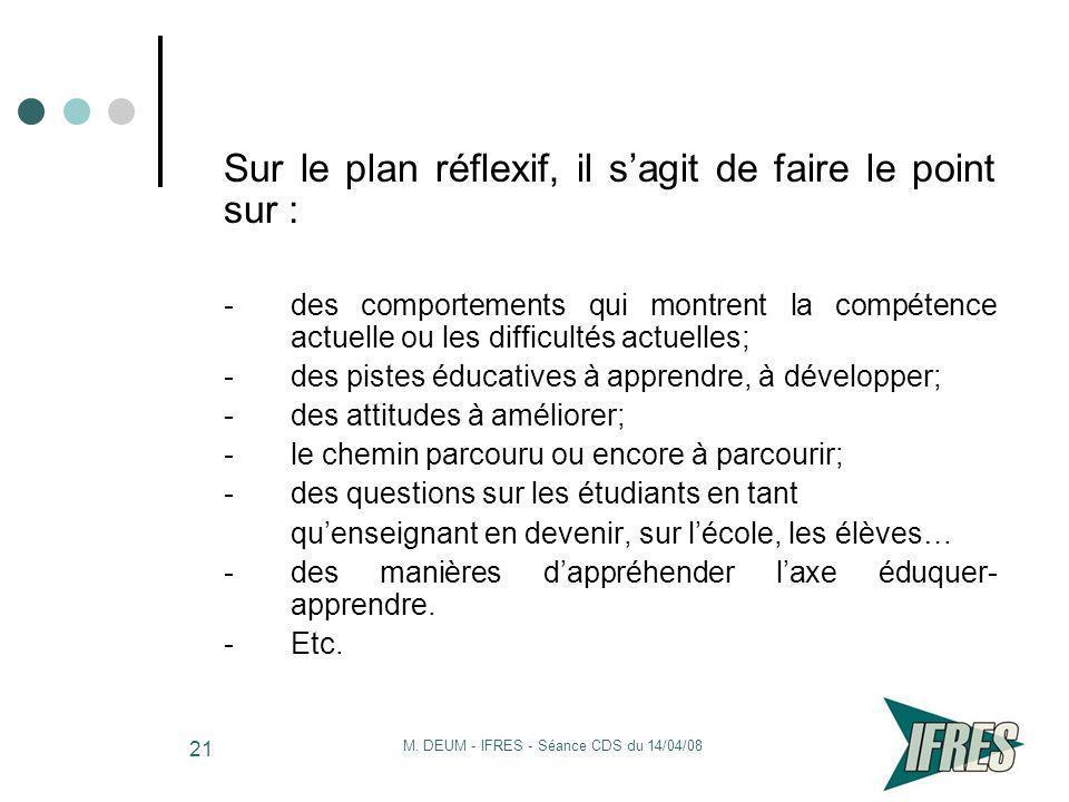 M. DEUM - IFRES - Séance CDS du 14/04/08 21 Sur le plan réflexif, il sagit de faire le point sur : -des comportements qui montrent la compétence actue