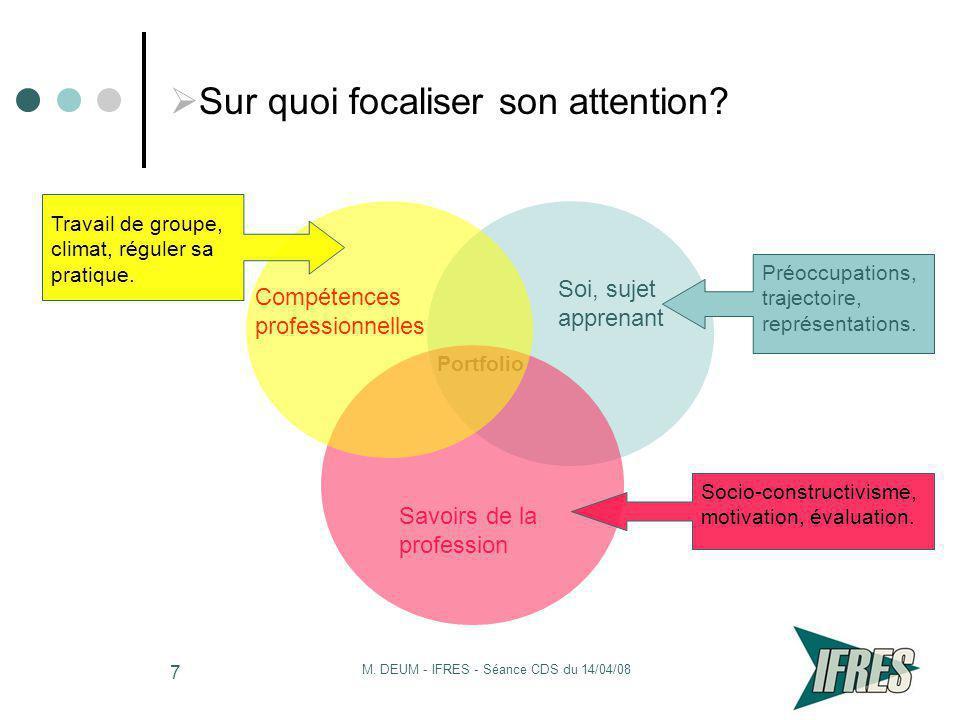 M. DEUM - IFRES - Séance CDS du 14/04/08 7 Sur quoi focaliser son attention? Portfolio Soi, sujet apprenant Savoirs de la profession Compétences profe