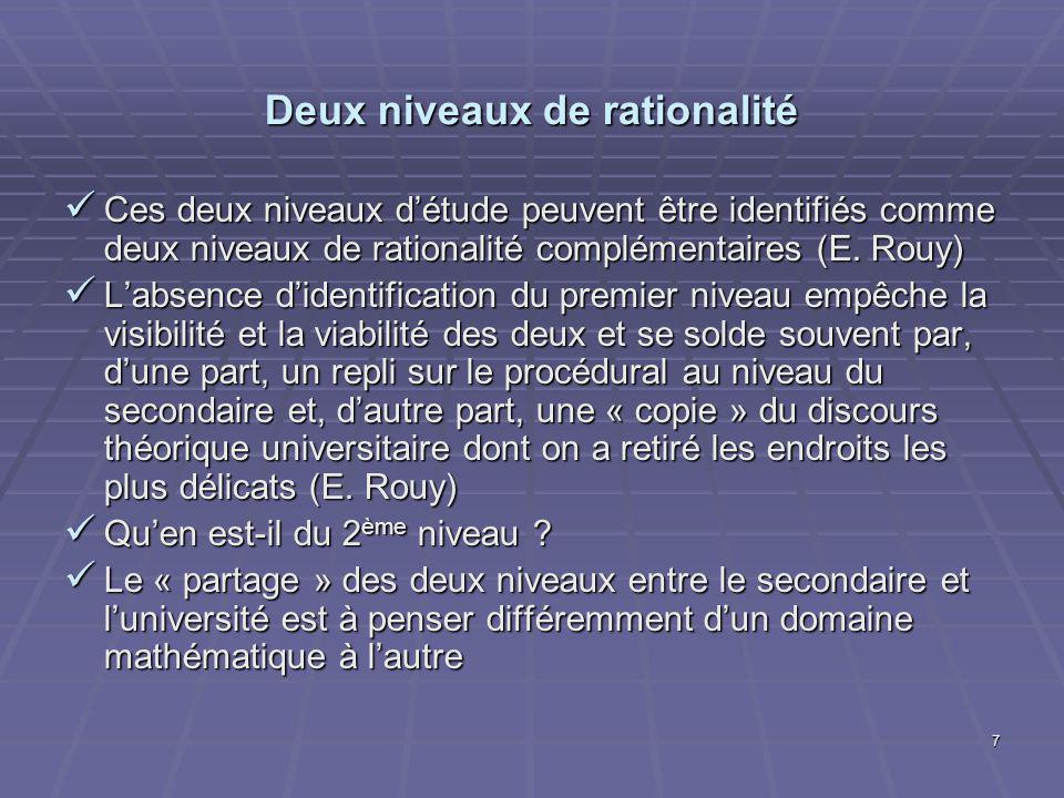 7 Deux niveaux de rationalité Ces deux niveaux détude peuvent être identifiés comme deux niveaux de rationalité complémentaires (E.