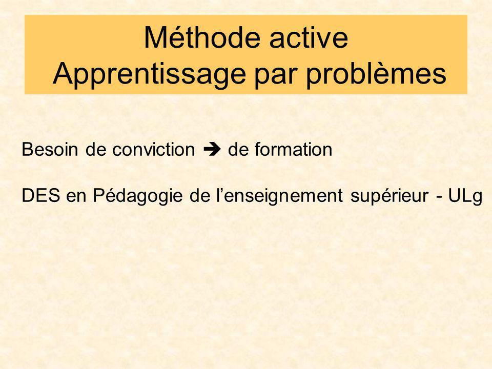 Méthode active Apprentissage par problèmes Besoin de conviction de formation DES en Pédagogie de lenseignement supérieur - ULg