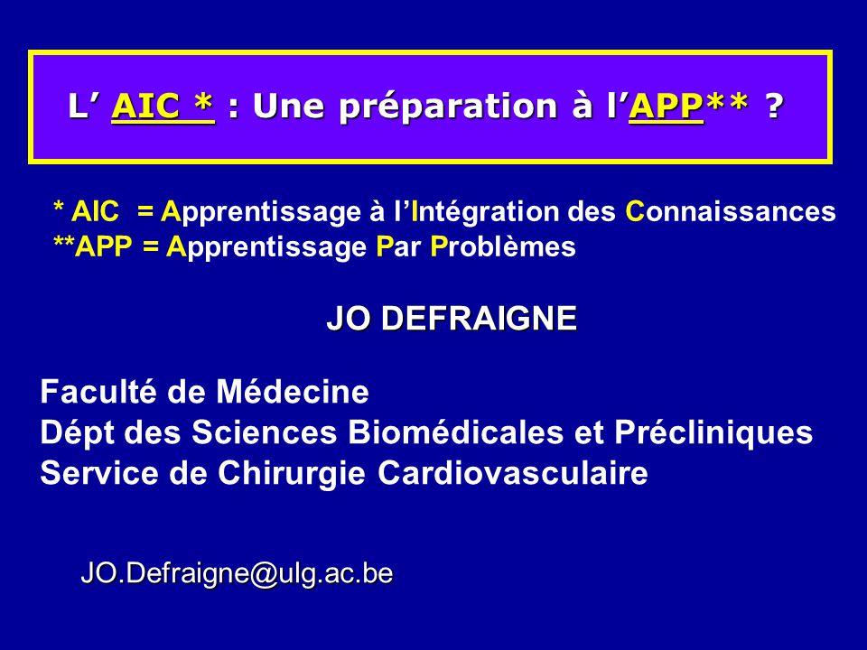 L AIC * : Une préparation à lAPP** ? Faculté de Médecine Dépt des Sciences Biomédicales et Précliniques Service de Chirurgie Cardiovasculaire * AIC =