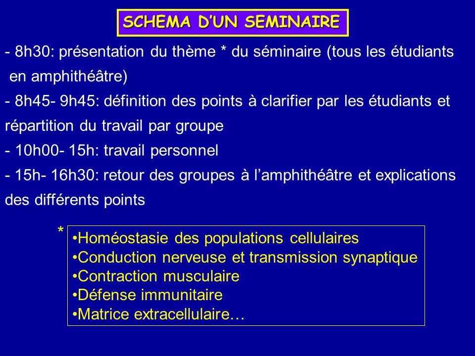 SCHEMA DUN SEMINAIRE - 8h30: présentation du thème * du séminaire (tous les étudiants en amphithéâtre) - 8h45- 9h45: définition des points à clarifier
