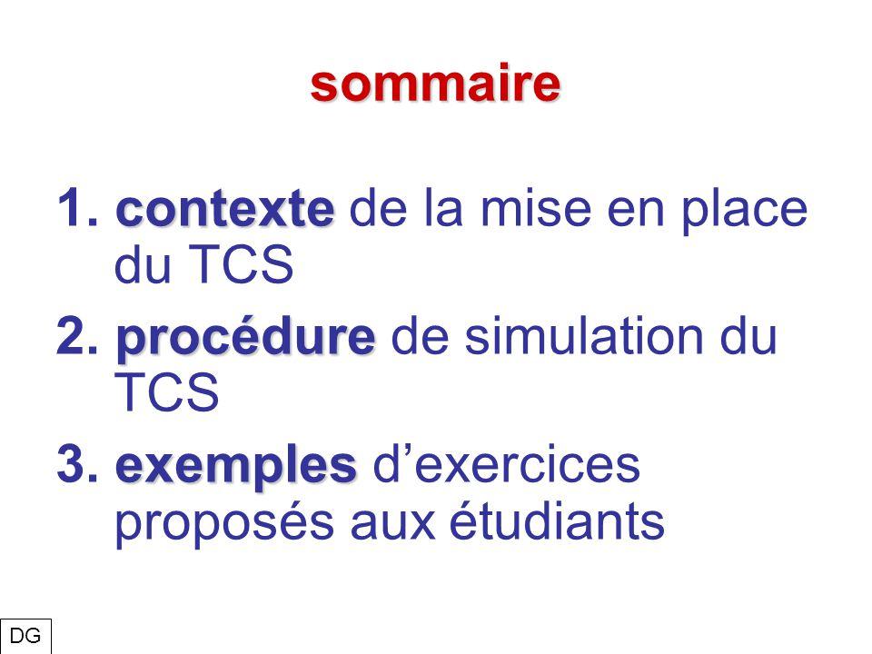 sommaire contexte 1. contexte de la mise en place du TCS procédure 2. procédure de simulation du TCS exemples 3. exemples dexercices proposés aux étud