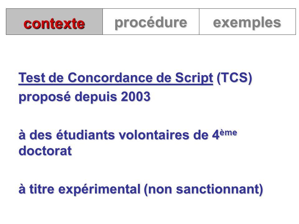 contexte Test de Concordance de Script (TCS) proposé depuis 2003 à des étudiants volontaires de 4 ème doctorat à titre expérimental (non sanctionnant)