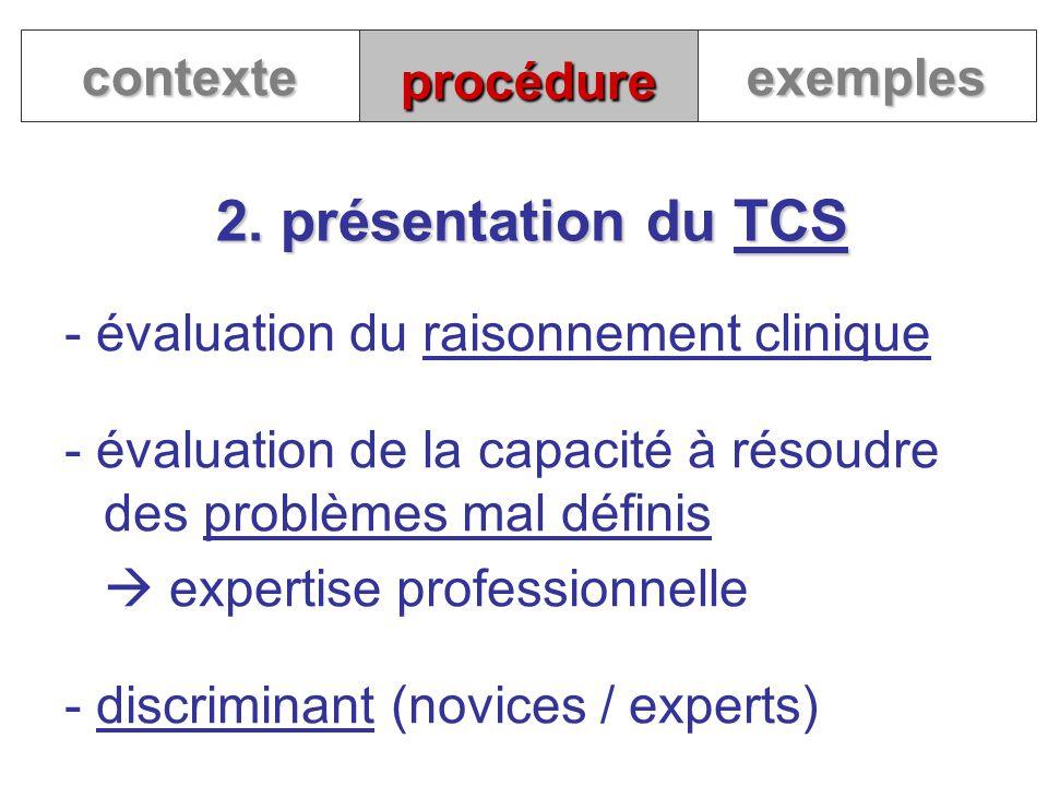 procédure 2. présentation du TCS contexteexemples - évaluation du raisonnement clinique - évaluation de la capacité à résoudre des problèmes mal défin