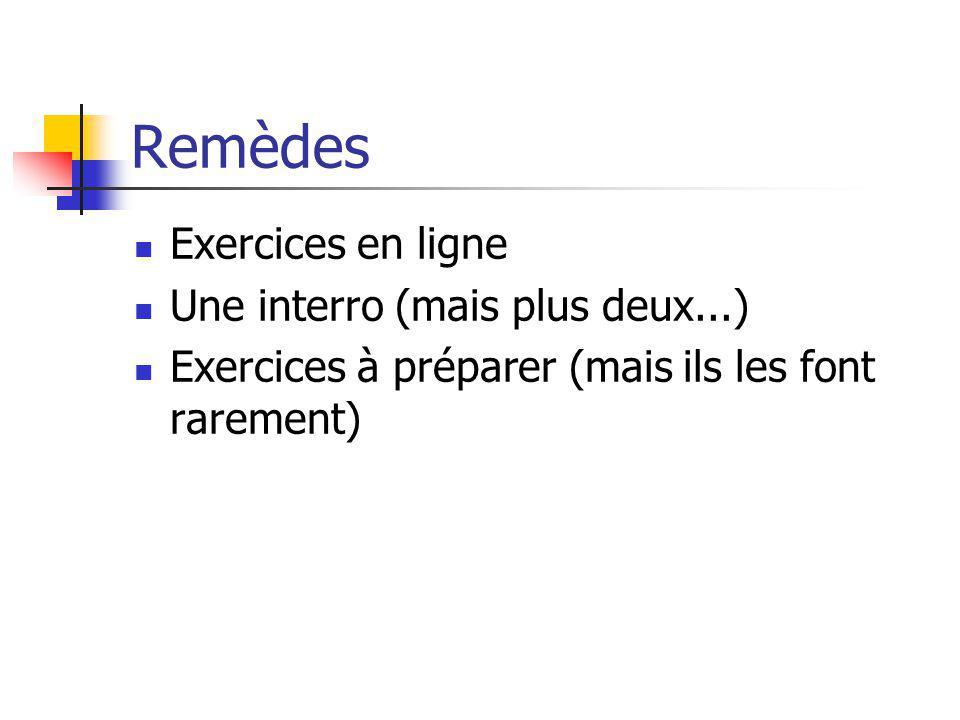 Remèdes Exercices en ligne Une interro (mais plus deux...) Exercices à préparer (mais ils les font rarement)