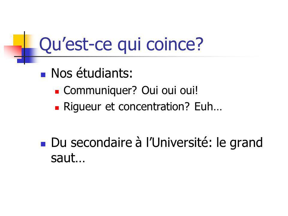 Quest-ce qui coince? Nos étudiants: Communiquer? Oui oui oui! Rigueur et concentration? Euh… Du secondaire à lUniversité: le grand saut…