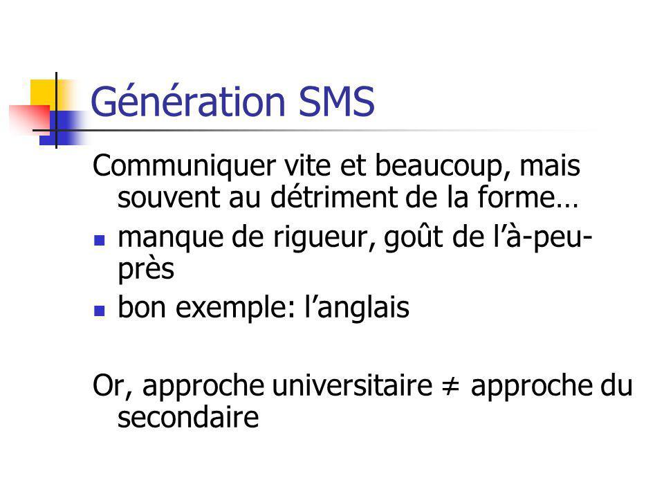 Génération SMS Communiquer vite et beaucoup, mais souvent au détriment de la forme… manque de rigueur, goût de là-peu- près bon exemple: langlais Or,